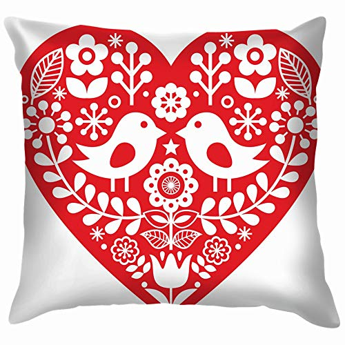 Scandinavian Red Folk Art Birds Holidays Pillow Case Throw Pillow Cover Square Cushion Cover 12X12 Inch