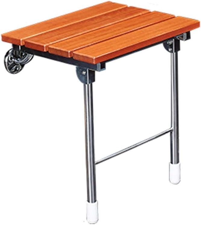 Baño de ducha asiento de la silla de montaje en pared Fold-Up silla del asiento de baño de heces for ancianos, personas discapacitadas Banco de madera, Tercera sólido for Vestíbulo de entrada Pasillo