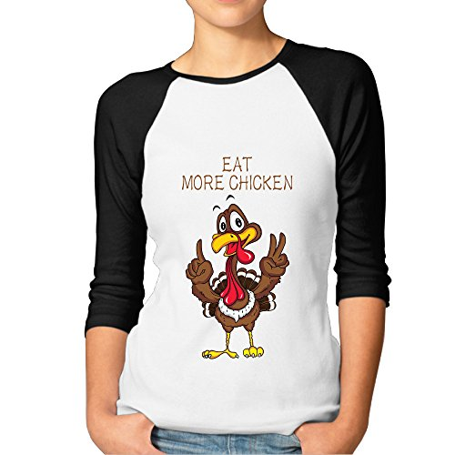 Funny Turkey Design Ladies' Crew-Neck 3/4 Sleeves Raglan Tshirt Turkey Womens Cap Sleeve T-shirt