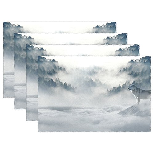 WIHVE Placemats Wipeable Dining Wolves Snow Wolf Landscape Table Mat Rectangle Polyester Washable Insulation Non-slip Kitchen Placemat Set of 4