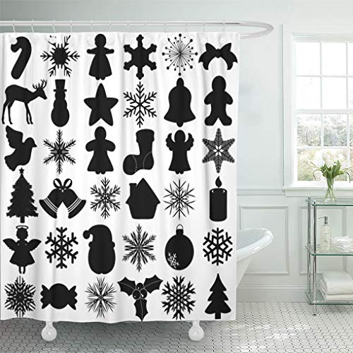 Semtomn Decorative Shower Curtain Silhouettes of Snowflake Christmas Festival Symbol Angel Bell Gingerbread 72