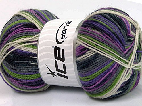 ((1) 100 Gram Super Sock, Lilacs Green Grey Black White Self-Patterning Superwash Wool Sock Yarn)