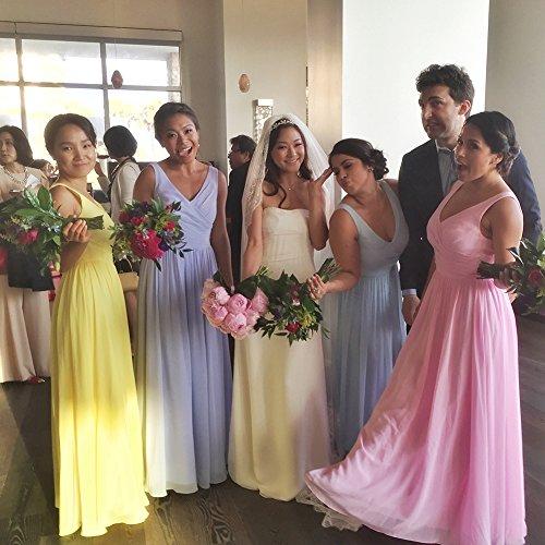 Cdress Des Femmes De Longues Robes De Bal De Demoiselle D'honneur En Mousseline De Soie Col V Piscine Fête De Mariage Sans Manches