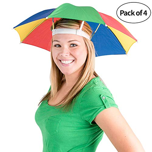 Bedwina Umbrella Hat (Pack of 4) - 20 Inch, Hands Free, Funny Rainbow Colorful Beach Party Hats, Adjustable Size Fits All Ages, Kids, Men & - Head Umbrella