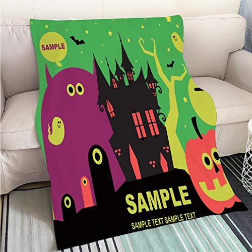 Comforter Multicolor Bed or Couch Spooky Halloween devils castle party invitation star lit night sky background with cute ghost jack o Hypoallergenic - Plush Microfiber Fill - Machine Washable