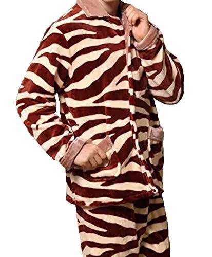Uomo Servizio Casa Maniche Lunghe Homewear Rosso Due Caldo Pigiameria Pigiama Set Stlie Inverno Unique Risvolto Cashmere Corallo 1wFWdHq