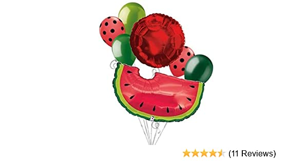 7 pc Red Watermelon Slice Picnic Balloon Bouquet Party Decoration Luau Birthday