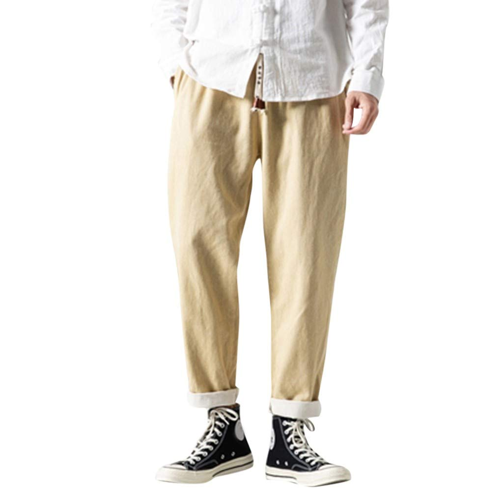 Aleola Men's Casual Plain Jeans Retro Trousers Pant (Beige,XXXXL) by Aleola_Men's Pants