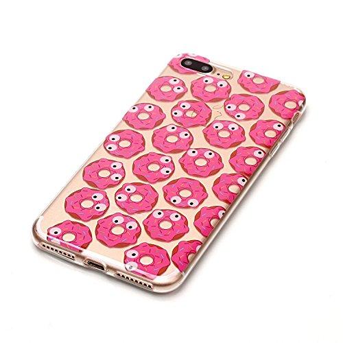 iPhone 8 Plus Coque,Biscuits roses Premium Gel TPU Souple Silicone Transparent Clair Bumper Protection Housse Arrière Étui Pour Apple iPhone 8 Plus + Deux cadeau