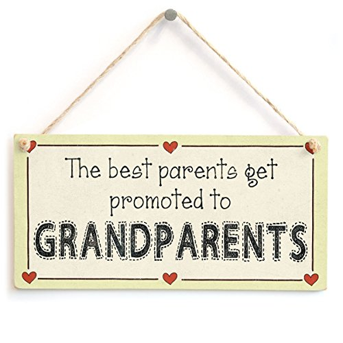 """Meijiafei The Best Parents get Promoted to Grandparents - Gift Love Heart Frame Sign 10""""x5"""""""