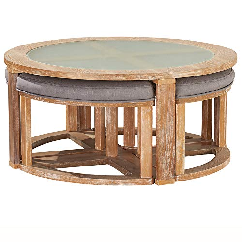 O K Furniture Round Coffee Table With 4 Nesting Stools Cocktail