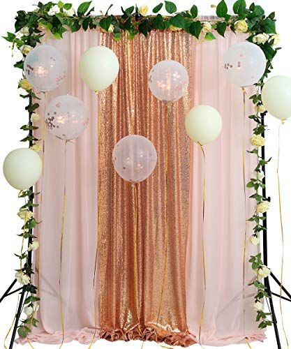 Peach And Gold Wedding (Sparkly Rose Gold Wedding Backdrop 8.8ftx8ft Photography Backdrop Light Peach Chiffon Ceremony Party Baby Shower Dessert Table Background)