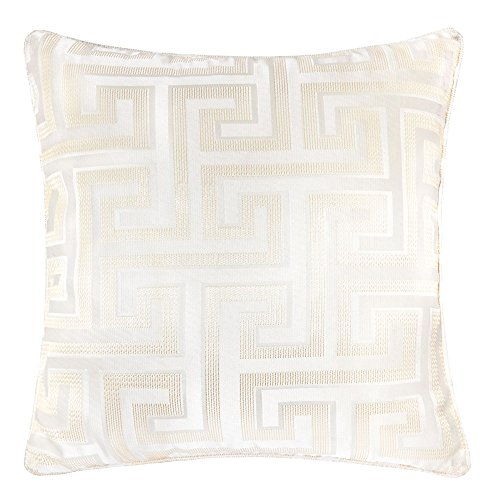 Homey Cozy Satin Jacquard Throw Pillow Cover,Silk Maze Series Ivory Geometric Large Sofa Couch Cushion Decorative Pillow Case 20 x 20 Inch, Cover Only