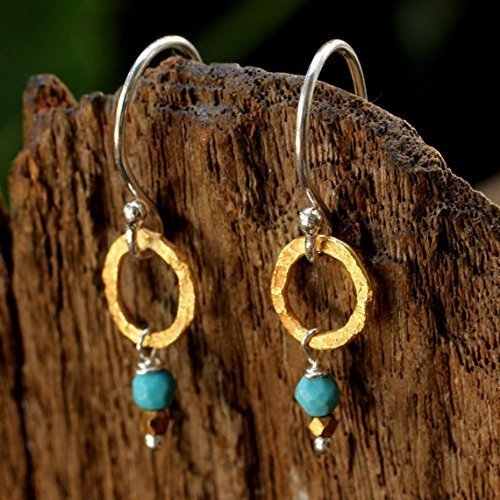 Sterling silver earrings with hand hammered brass hoop and turquoise - Earrings Hammered Hand