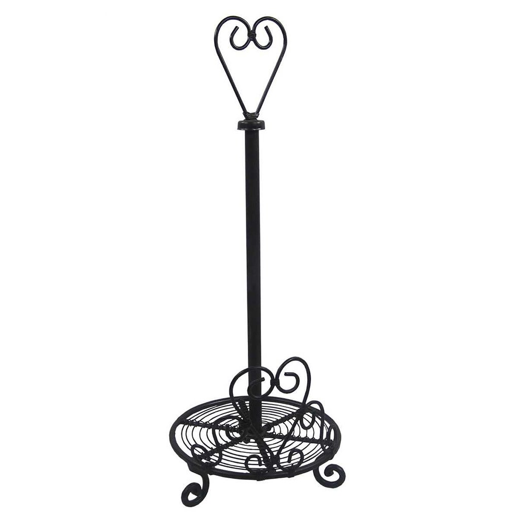 Heart Scrolled Design Cast Iron Kitchen Roll Holder - A Stylish Accessory For The Kitchen - H47cm x W17cm x D17cm dibor