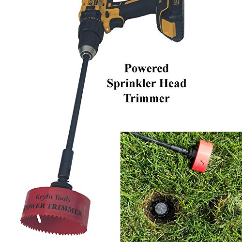 Keyfit Tools Power Sprinkler Head Trimmer 4″ Diameter Trim Your Rotors & Spray Heads in Seconds! for Overgrown Sprinklers & Clean Appearance Adjustment Replacement & Raising Cordless Drill Attachment