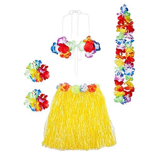 Gorse Hula Grass Skirt with Flower Leis Costume Set, Elastic Luau Grass and Hawaiian Luau Costume Set Flower Bracelets, Headband, Necklace,Bra for Party Favors(Yellow15.7)]()