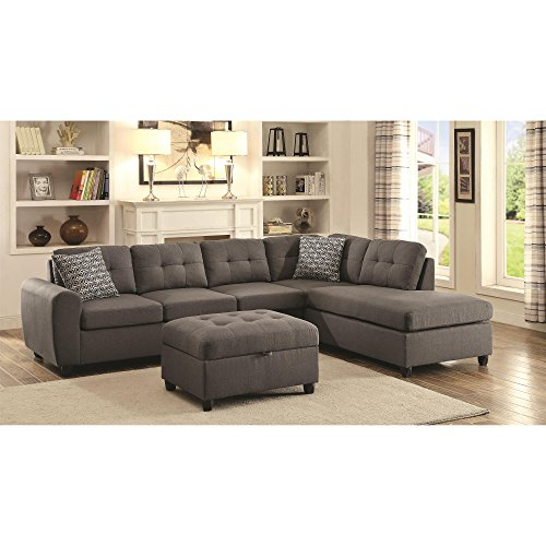 - Coaster Home Furnishings 500413 Living Room Sectional Sofa, Grey