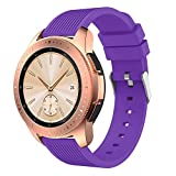 Compatible with Samsung Galaxy (42mm),Watch Bands, 20mm Straight Stripe Silicone Strap Replacement Buckle Wrist Band (purple)