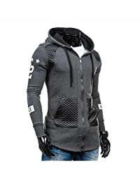 Sunward Men Fashion Leather Winter Warm Hooded Sweatshirt Coat Jacket Outwear Sweater