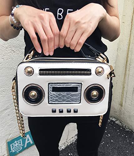 à cuir bandoulière à bandoulière femmes sac sac chaîne pu dames rétro Mode bourse Crème unique radio Rose sac boîte Pnizun rabat messager xOnvYPpBw
