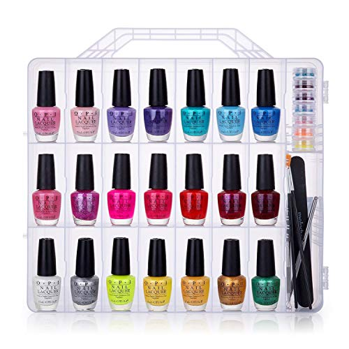 (MelodySusie Portable Nail Polish Organizer, Universal for 48 Bottles, Clear, Double Side, Gel Polish Storage Holder, Space Saver with 8 Adjustable Dividers)