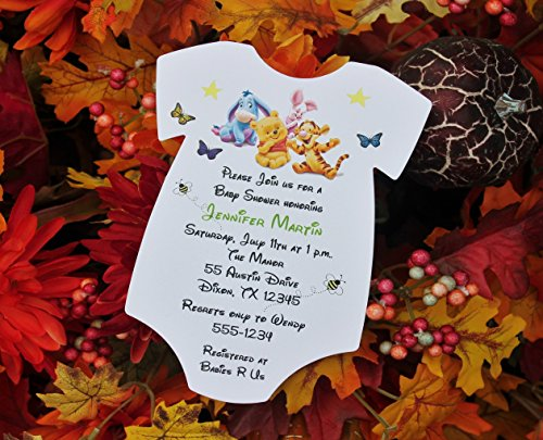 Set of 10 Winnie the Pooh Baby Shower Invitations - All Wording Customized - For Boy or Girl Baby ()