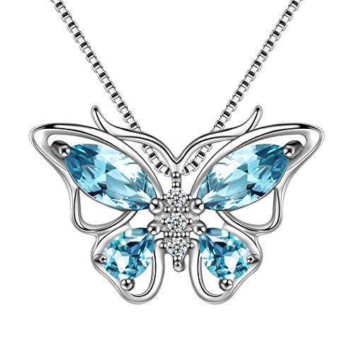 (Aurora Tears Gray Blue Butterfly Pendant Women Crystal 925 Sterling Silver Butterflies Necklace Animal Gift Dating Jewelry DP0013B )
