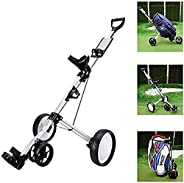 Push Pull Golf Cart, Golf 2-Wheeled Cart with 360 Rotating Front Wheel, Smallest Folding Lightweight Golf CART