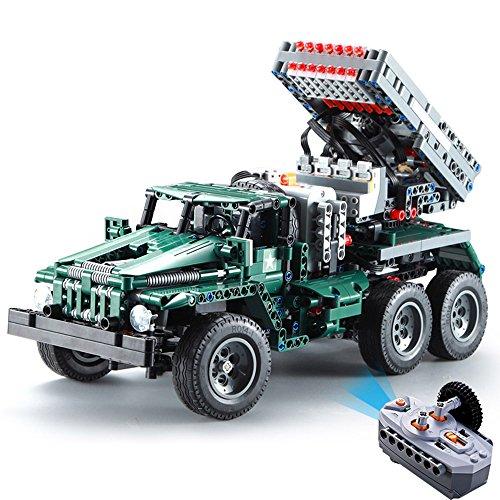 Goolsky DOUBLE E C61002W 1369 PCS ビルディングブロック1/20 変形可能 BM-21ロケットランチャー戦闘機 RC おもちゃ 贈り物 子供 ギフト