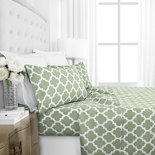 Egyptian Luxury 1800 Series Hotel Collection Quatrefoil Pattern Bed Sheet Set - Deep Pockets, Wrinkle and Fade Resistant, Hypoallergenic Printed Sheet and Pillow Case Set -King - Sage (Italian Bed)