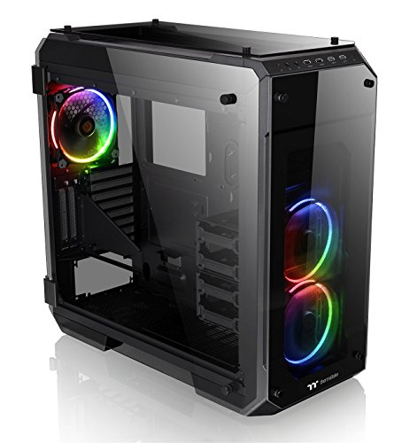 Thermaltake View 71 RGB 4-Sided Tempered Glass Vertical GPU Modular E-ATX Gaming Full Tower Computer Case with 3 RGB LED Riing Fan Pre-installed CA-1I7-00F1WN-01 (Best Atx Full Tower Case)