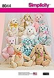 Simplicity Crafts Sewing Pattern 8044 Bear, Dog & Rabbit Stuffed Animal Toys