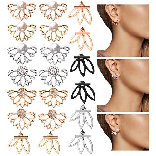 Altley 10 Pairs Jacket Earrings, Multifunction Cubic Zirconia, Pearl and Bar Jacket Stud Earrings for Women Girls