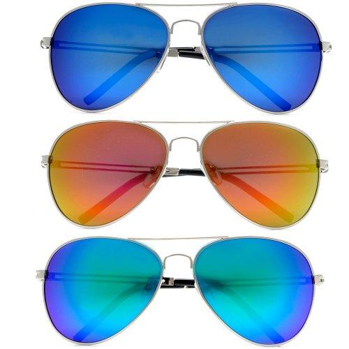 6d220a58c Triple Crown Top Gun Premium Full Mirror Color Reflective Lens Metal Tear  Drop CHP Cop Aviator Sunglasses 3 Pack Combo Special - Buy Online in Oman.
