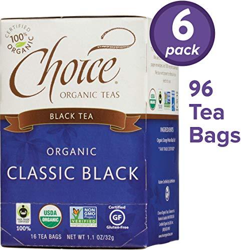 Classic Tea Bags Box - Choice Organic Teas Black Tea, 6 Boxes of 16 (96 Tea Bags), Classic Black