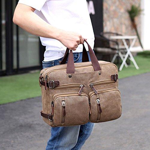Shoulder Boy Zipped Crossbody Bag Laptop Computer Canvas Backpack Casual Messenger Men Travel Satchel Briefcase Vintage For Brown xqgvI77