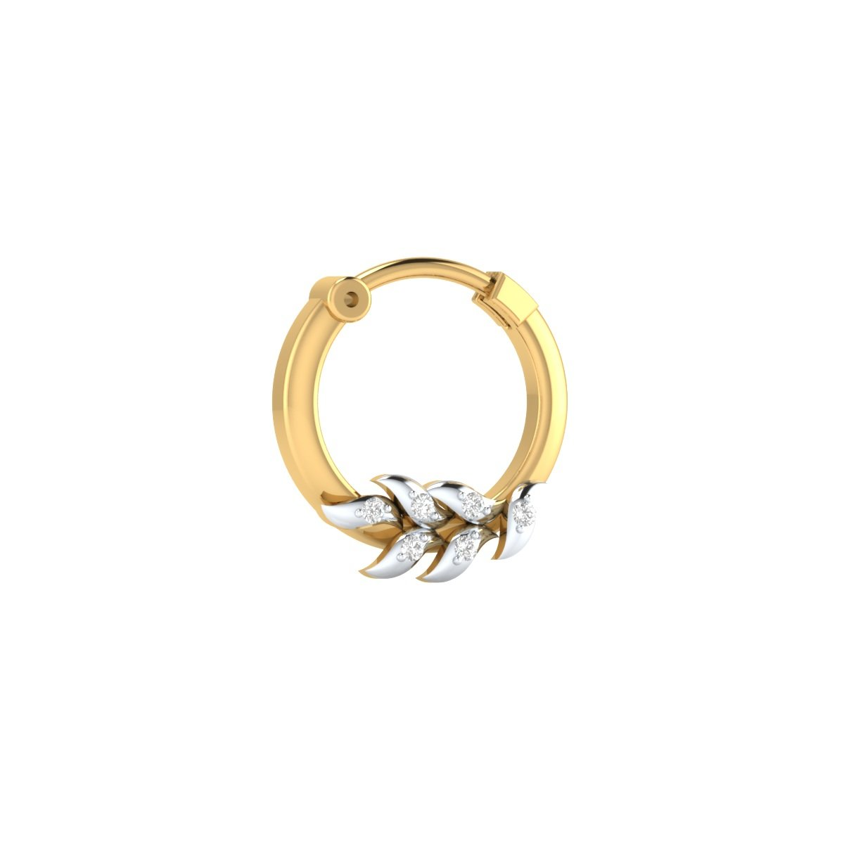 Buy 18k Yellow Gold Plated And Cubic Zirconia Nose Ring Pin For
