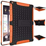 """iPad Pro Case, iCoverCase Heavy Duty Tough Rugged [Dual Layer] Case Back Cover with Built-in Kickstand for Apple iPad Pro 12.9"""" (Orange)"""