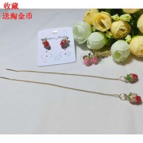 - Custom small sweet strawberry pink little girls jewelry earrings cute princess seductive ear wire earrings