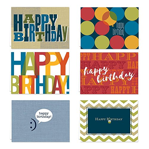 Snappy Birthday Note Card Assortment Pack - Set of 36 cards per package - 6 designs blank inside - with white...