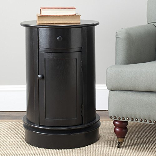 Safavieh American Homes Collection Tabitha Distressed Black Oval Swivel Storage End Table For Sale