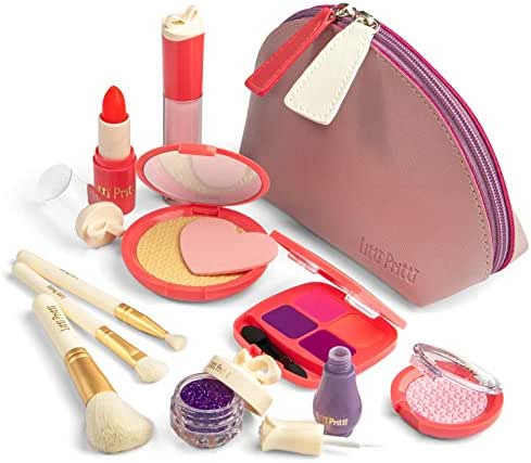Litti Pritti Pretend Makeup for Girls - 11 Piece Play Makeup Set- Realistic Toys Makeup Set for Girls