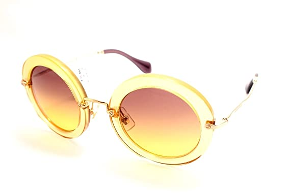 0c5c808bf4e0 Image Unavailable. Image not available for. Color  Miu Miu 13NS PDA1F2  Genista Yellow 13NS Noir Round Sunglasses ...