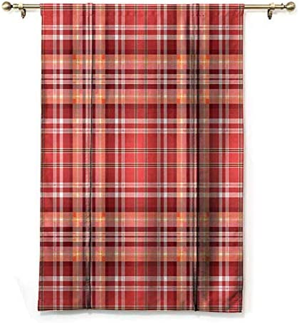 cashewii Checkered Tie Up Valance Curtains, Red Pink Orange Checkered Pattern with White Lines Cells Graphic Suitable for Bedroom Window Curtain for Living Room 48 x 72 Dark Coral Orange White
