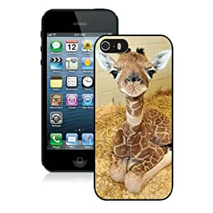 Unique iPhone 5 5S Case ,Popular And Durable Designed With Teacup Giraffe Black iPhone 5 5S Cover