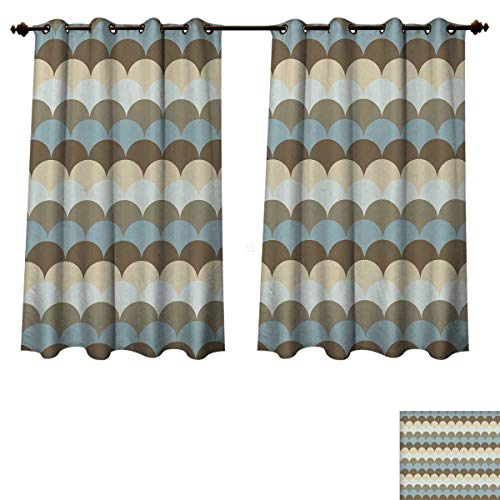 Pearl Oval Shaped Slide - RuppertTextile Geometric Blackout Thermal Curtain Panel Circular Patterned Sea Concept Oval Shaped Wave Design Nautical Inspirations Patterned Drape for Glass Door Multicolor W72 x L72 inch