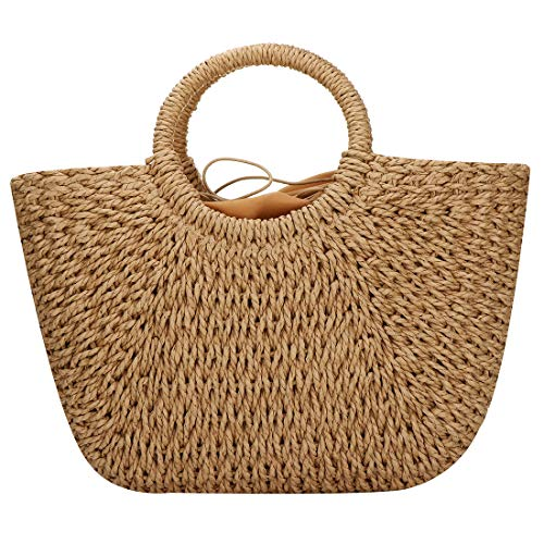 Straw Bags for Women, Hand-woven Straw Large Hobo Bag Round Handle Ring Toto Retro Summer Beach bag (Brown), 16.99W x 7.5inchesH