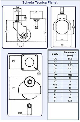 Freewheeling Set de 4 Roulettes Pivotantes Spherical Planet avec filetage M10 x 15 Cod 1117602 Argent-Noir