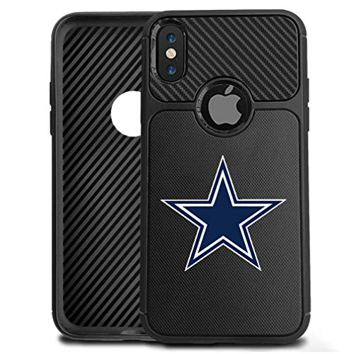 (iPhone Xs Max Case Cowboys Cover Slim Soft Carbon Fiber Pattern Silicone TPU Protective Durable Snap on Shell for iPhone Xs Max 6.5 inch Black)